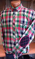 Рубашка клетка приталенная с длинным рукавом DERGI с локтями Одесса