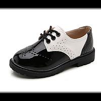 ca1f896e74f46f Лакированые туфли детские для девочки Bobozi черные с белым 27-39р.