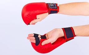 Перчатки для каратэ ZEL ZB-4007-R (PU, р-р L-XL красный,  манжет на резинке)