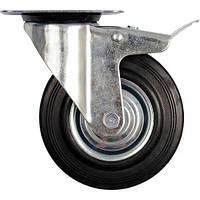 Колесо к коляске Ø= 200 мм, b= 46 мм VOREL с тормозом и вращающейся опорой; h= 235 мм, нагрузи.- 150 кг