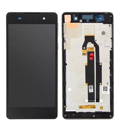 Дисплей (экран) для Sony F3313 Xperia E5 с сенсором (тачскрином) и рамкой черный Оригинал, фото 2