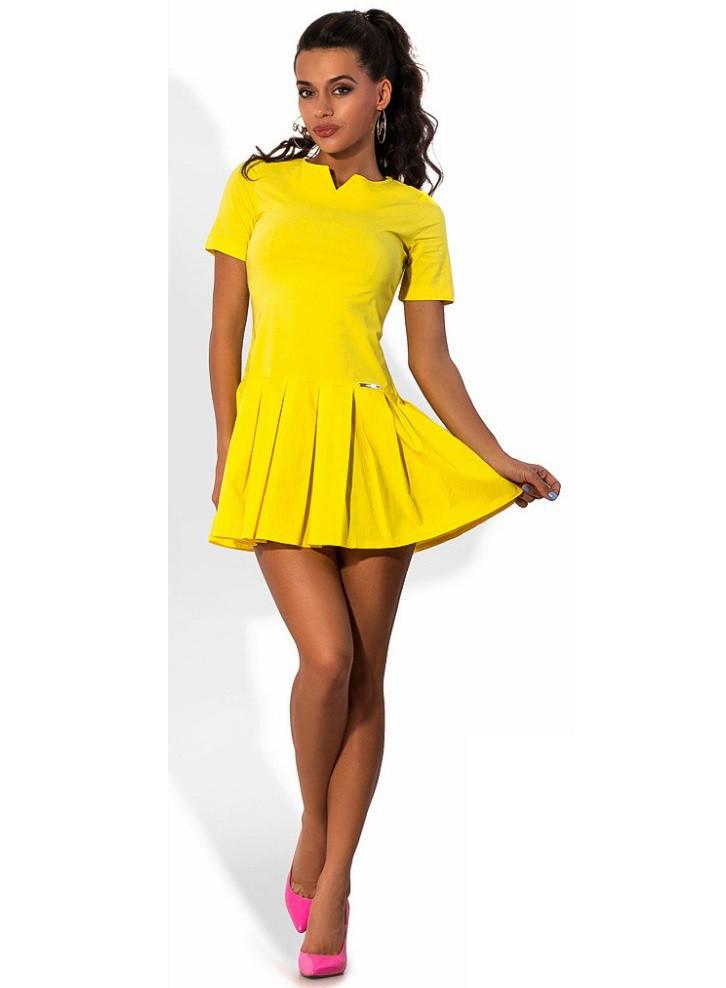 Желтое мини платье из бенгалина Д-1575