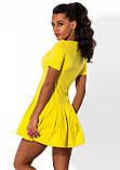 Желтое мини платье из бенгалина Д-1575, фото 2