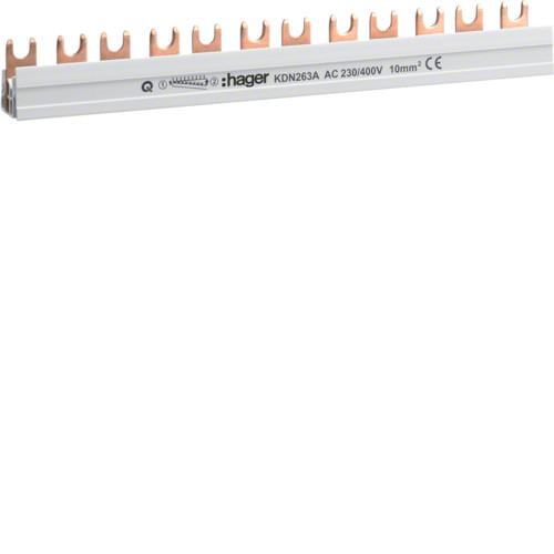 Шина соединительная вилочная Hager KDN263A, 2-полюсная на 12 модулей