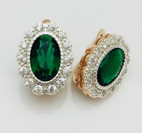 Серьги Fallon с зеленым камнем овальные