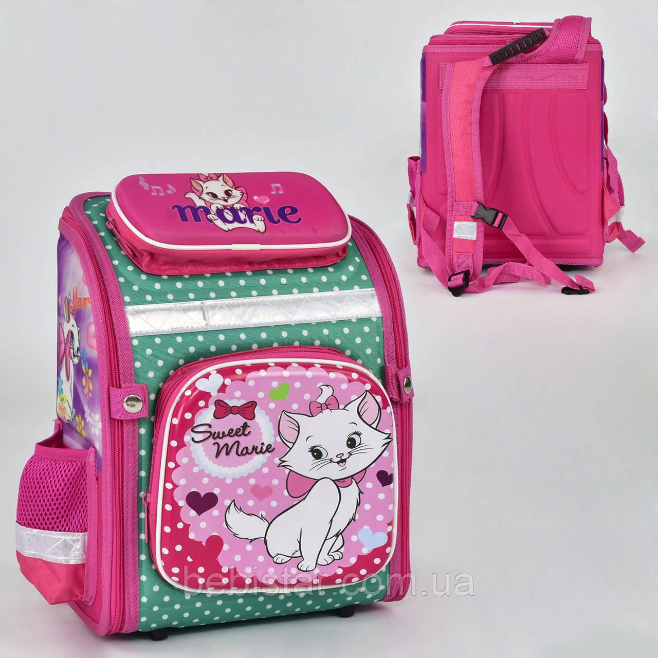 Школьный рюкзак ортопедическая спинка 3 кармана с изображением кошечки