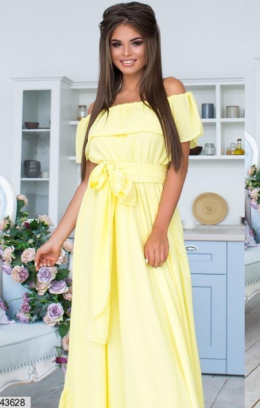 Красивое платье  шифон цвет лимонный размер универсальный 42-46