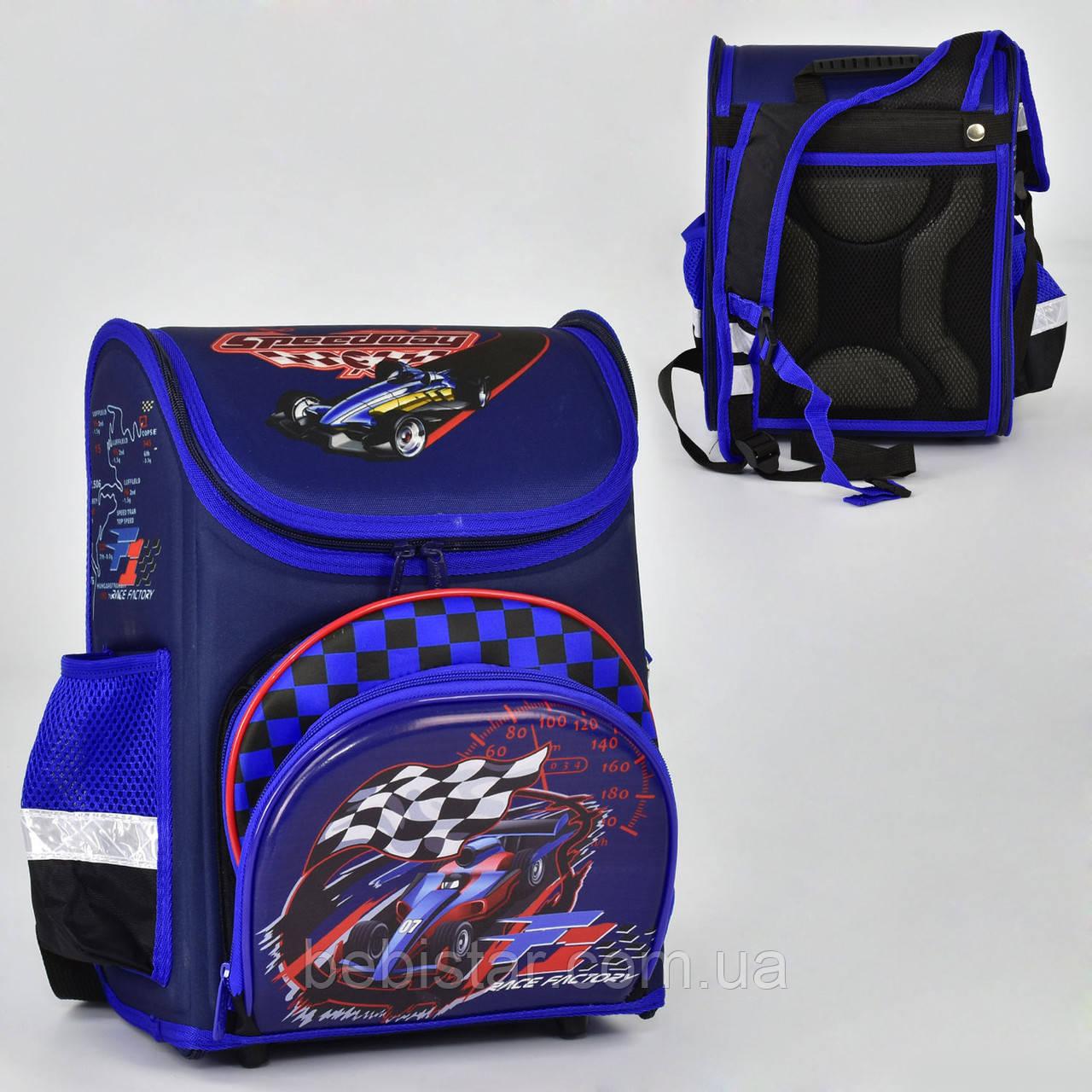 Шкільний рюкзак ортопедична спинка 3 кишені з зображенням спортивного боліда