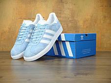 Женские кроссовки Adidas Gazelle Sky Blu/White, фото 3