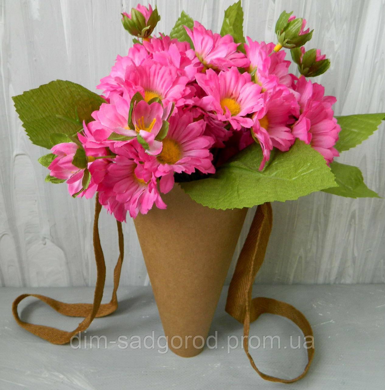 Подарункова коробка для квітів 21365-10 конус (м), D-12,5 см Подарочная коробка для цветов