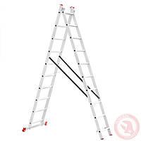 Лестница алюминиевая 2-х секционная раскладная 2x10 ступ. 4,81м INTERTOOL (LT-0210), фото 1