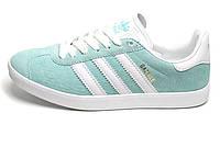 Женские кроссовки Adidas Gazelle Sky Green/White