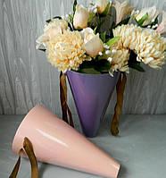 Подарункова коробка для квітів 21365-08 конус з ламін.16 см Подарочная коробка для цветов с ламин.