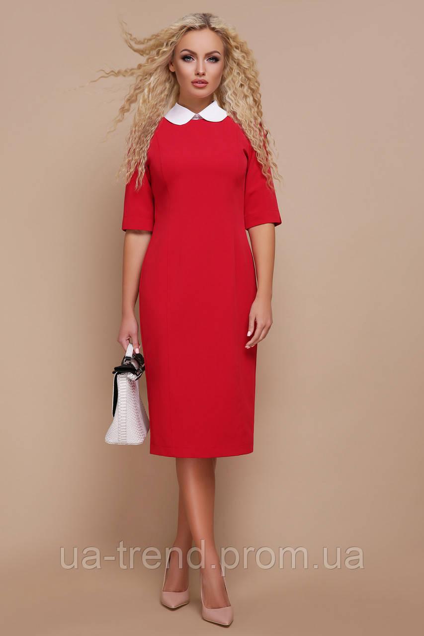 ce8f8d807736336 Платье делового стиля красного цвета - Интернет-магазин украинского  текстиля