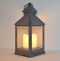 Декоративный фонарь с LED подсветкой (серый)