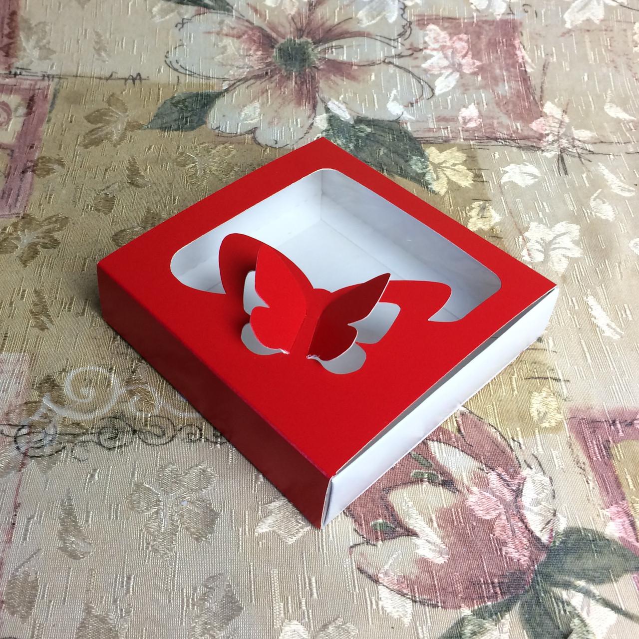 Коробка для пряников / 120х120х30 мм / печать-Красн / окно-Бабочка