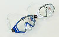 Маска для плавания M153-PVC (термостекло, PVC, пластик, белый, синий)