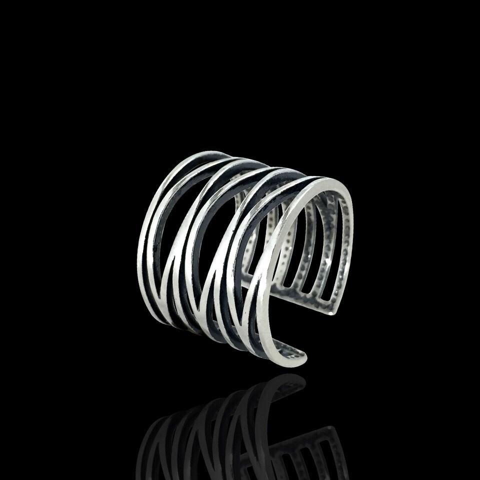 Серебряное фаланговое кольцо, ширина 16мм