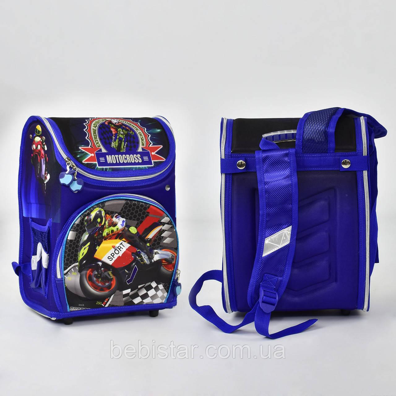 Школьный рюкзак ортопедическая спинка 2 кармана с изображением крутых байков