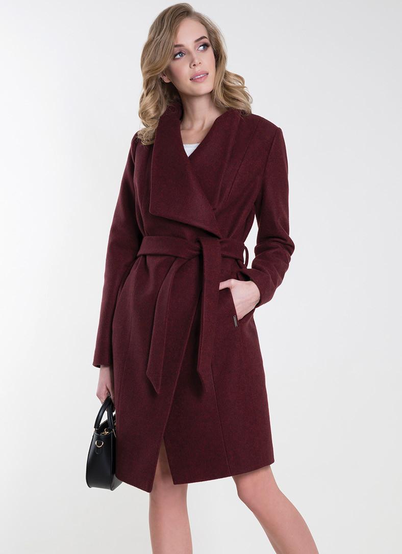 aa2234317e0 Женское пальто с поясом бордового цвета. Модель Ksenia Zaps. Коллекция  осень-зима 2018