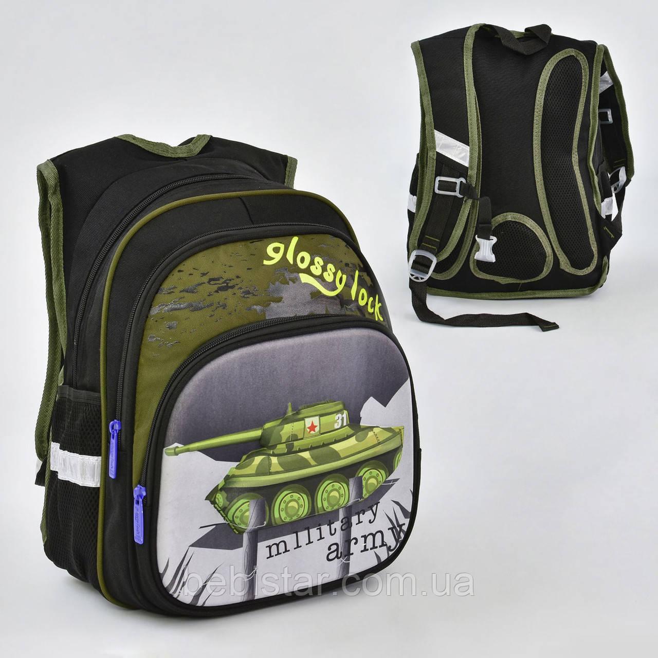 Школьный рюкзак ортопедическая спинка 3 кармана цвет хаки