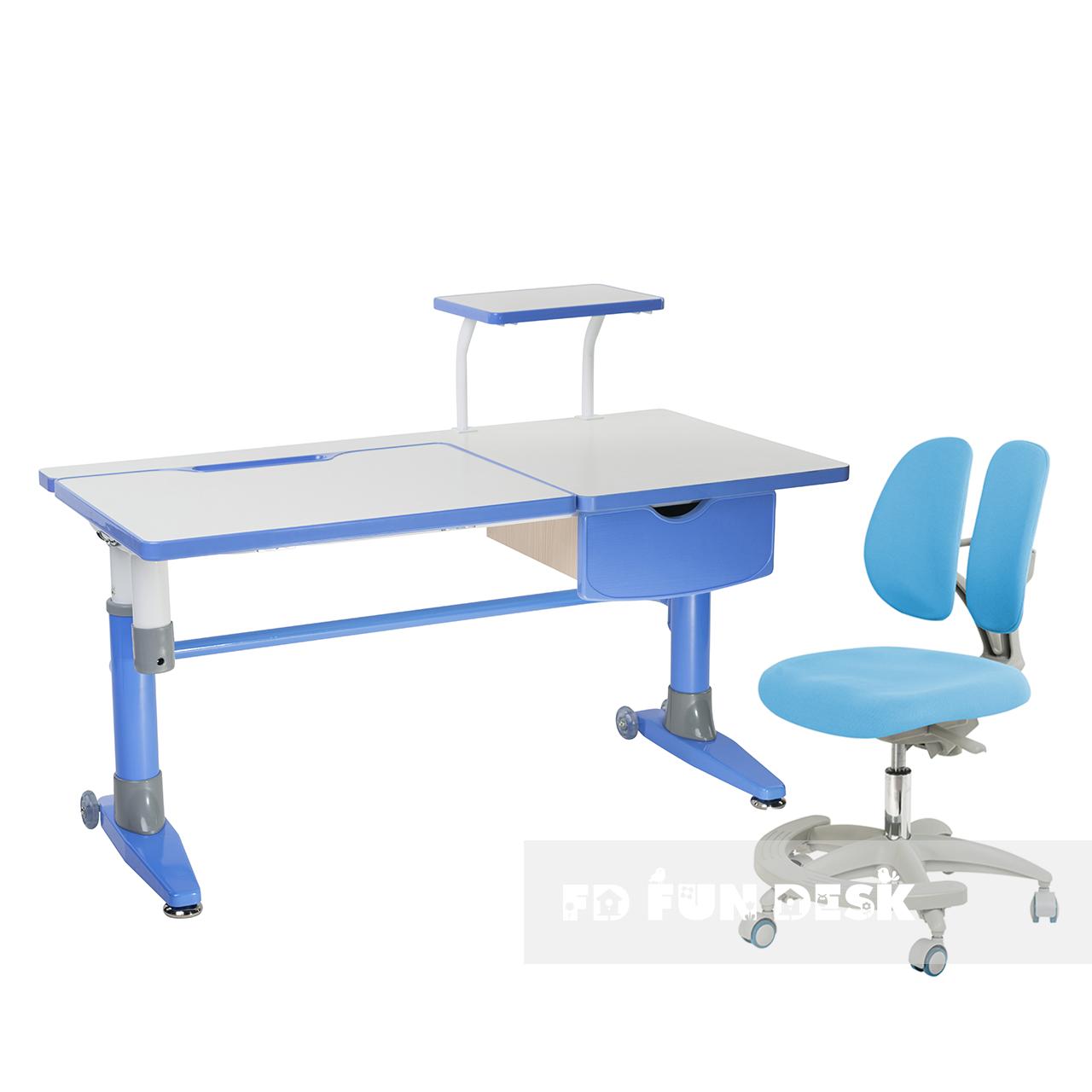 Комплект подростковая парта для школы Ballare Blue + ортопедическое кресло Primo Blue FunDesk