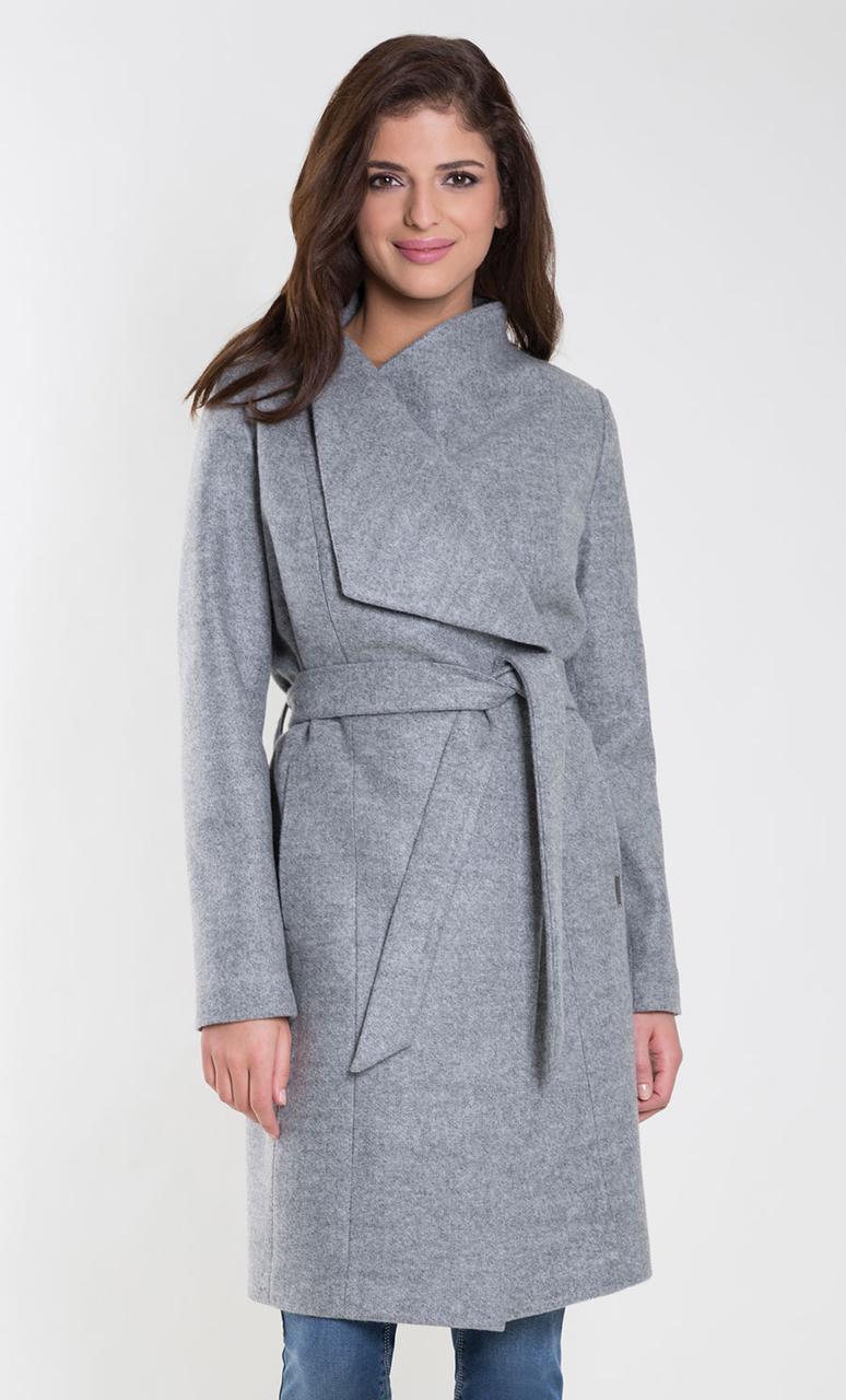 8749639f1d3 Женское пальто с поясом серого цвета. Модель Ksenia Zaps. Коллекция осень-зима  2018-2019