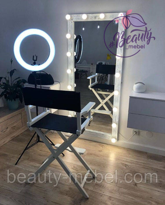 Большое навесное гримерное зеркало с подсветкой, зеркало для макияжа с лампами, натуральное дерево
