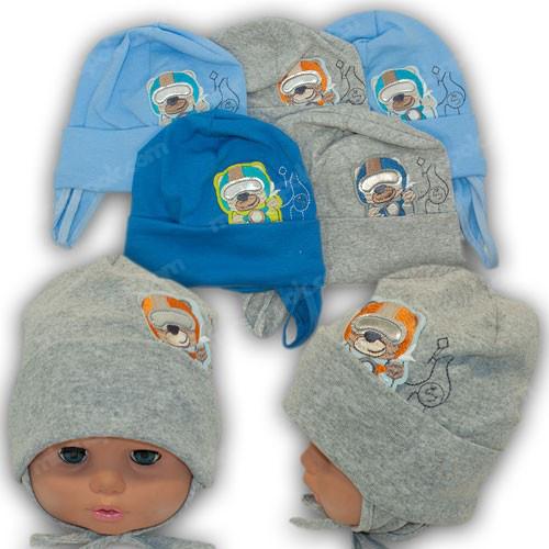 Трикотажная шапка на завязках для мальчика, р. 44-46
