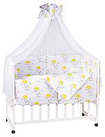 Детская постель Babyroom Bortiki lux-08 белый слоники с желтым зонтиком