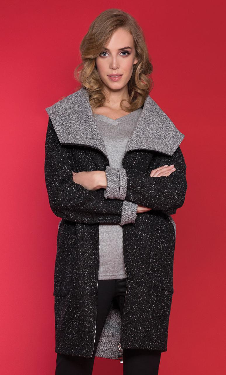 Женское пальто черного цвета на молнии. Модель Isili Zaps. Коллекция осень-зима