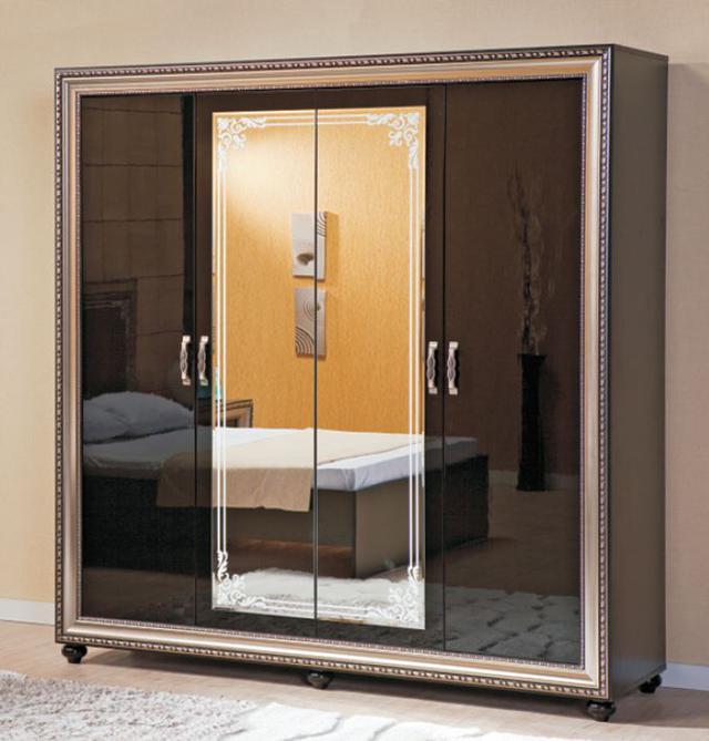 Спальня Элизабет Гардероб 4-ех дверный черный