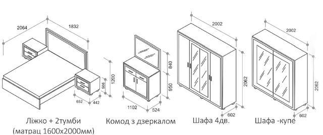 Спальня Элизабет (размеры элементов)