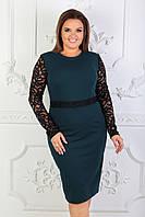 Платье с гипюровыми вставками и длинным рукавом 52-54