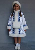 Детский новогодний костюм Снегурочки из атласа 5-6 лет