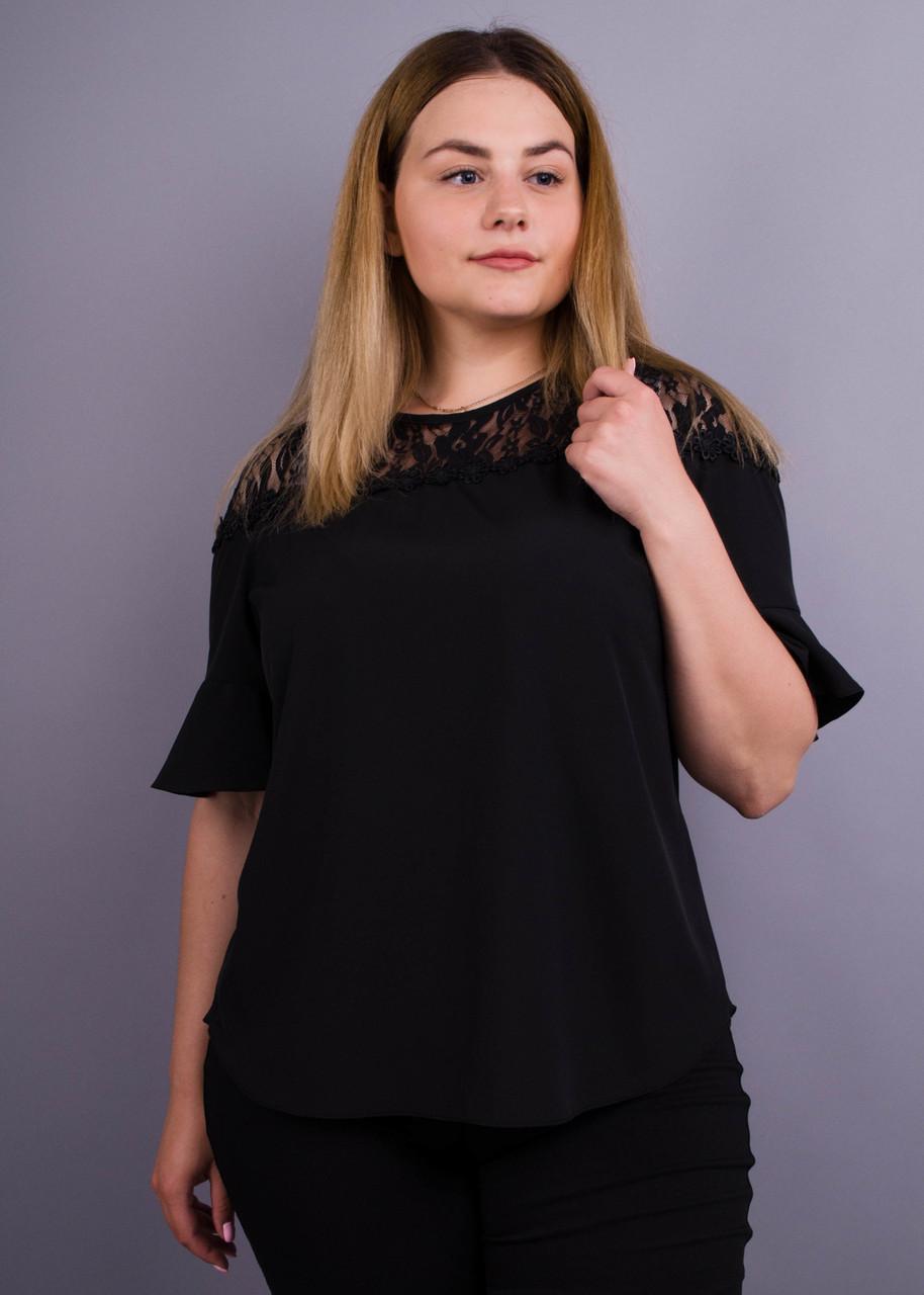 Стильная блуза с гипюром больших размеров Камелия