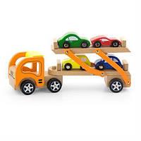 """Игрушка Viga Toys """"Автотрейлер"""" (50825), деревянный автотрейлер, детские машинки"""