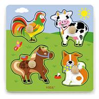 """Рамка-вкладыш Viga Toys """"Ферма"""" (50839), детские вкладыщи, деревянные вкладыши"""