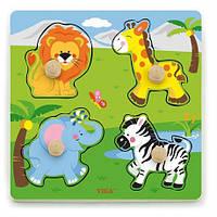 """Рамка-вкладыш Viga Toys """"Дикие животные"""" (50840), деревянные пазлы вкладыши"""