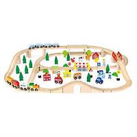 """Игрушка Viga Toys """"Железная дорога"""", 90 деталей (50998),  деревянная железная дорога"""