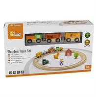 """Игровой набор Viga Toys """"Железная дорога"""", 19 деталей (51615), детская железная дорога, деревянная"""