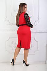 Платье с гипюровыми вставками, №81, красное., фото 3