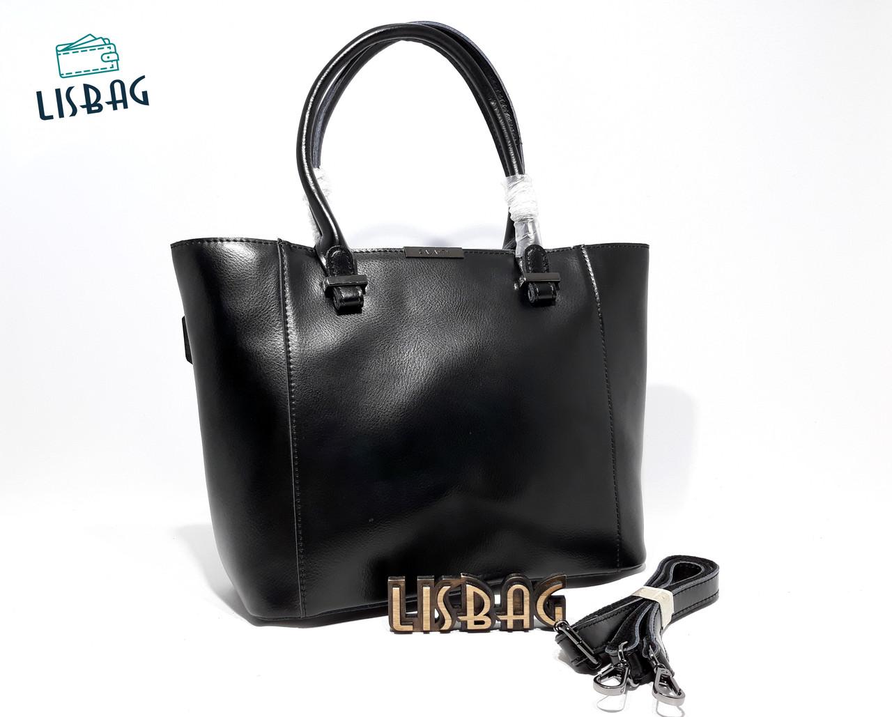 504891049ac6 Вместительная черная сумка из натуральной кожи Galanty для повседневной  носки, ...