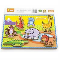 """Рамка-вкладыш Viga Toys """"Животные"""" (56435),  деревянные пазлы для детей"""