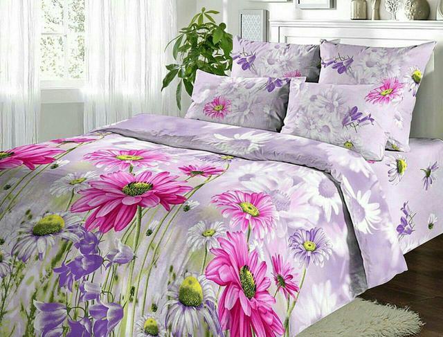 """Двоспальний постільний комплект """"Білі квіти на рожевому """", фото 1"""