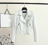 Женская кожаная куртка косуха белая. Арт.А1067, фото 1