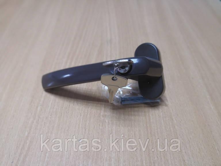 Ручка оконная с замком (анти детка) коричневая Украина