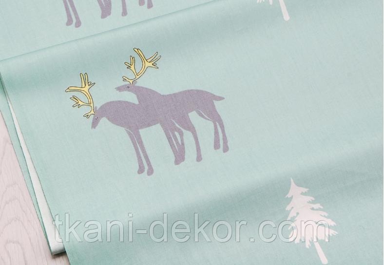 Сатин (хлопковая ткань)  на мятном северные олени
