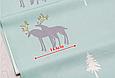 Сатин (хлопковая ткань)  на мятном северные олени, фото 3