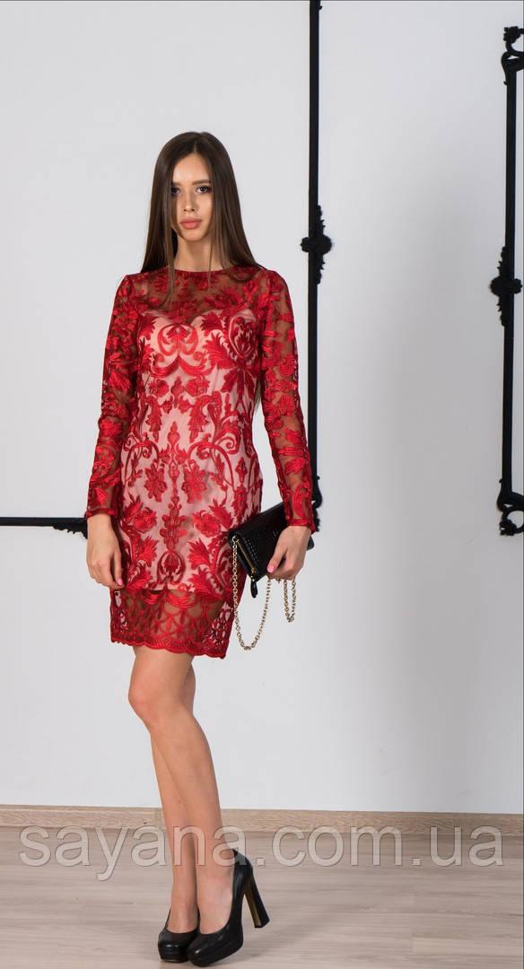 acd0ef5c379 Женское нарядное платье из вышитой органзы